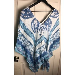 New mud pie blue white boho poncho festival